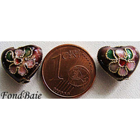 Perles Coeurs Cloisonnés 12mm VIOLET par 4 pcs