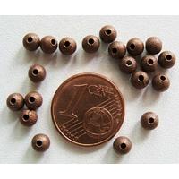 Perles Métal CUIVRE RONDES aspect GIVRE 4mm par 20 pcs