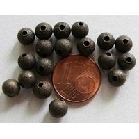 Perles Métal BRONZE RONDES aspect GIVRE 6mm par 20 pcs