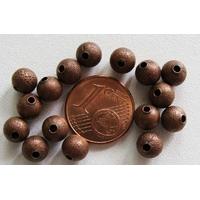 Perles Métal CUIVRE RONDES aspect GIVRE 6mm par 20 pcs