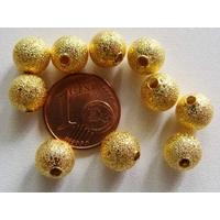 Perles Métal DORE RONDES aspect GIVRE 8mm par 10 pcs