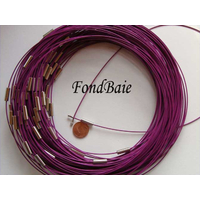 Collier monté FIL CABLE 37cm VIOLET 1mm fermoir VIS par 1 pc