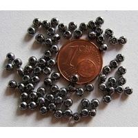 Perles Métal Noir Rondes lisses 3mm par 100 pcs