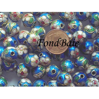 Perles Rondes Cloisonnés 10mm BLEU par 10 pcs