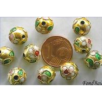 Perles Rondes Cloisonnés 10mm DORE par 10 pcs