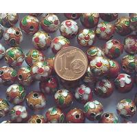 Perles Rondes Cloisonnés 10mm MARRON par 10 pcs