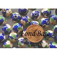 Perles Rondes Cloisonnés 10mm MARINE par 10 pcs