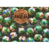 Perles Rondes Cloisonnés 10mm VERT FONCE par 10 pcs