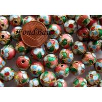 Perles Rondes Cloisonnés 10mm VIEUX ROSE par 10 pcs