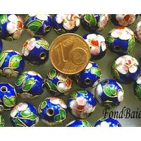 Perles Rondes Cloisonnés 12mm MARINE par 10 pcs