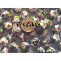 Perles Rondes Cloisonnés 12mm VIOLET par 10 pcs