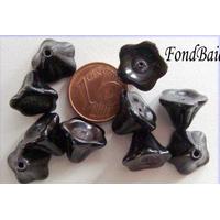 Perles Cones fleurs NOIR 12mm par 10 pcs