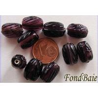 Perles Olive striée 13mm VIOLET par 10 pcs