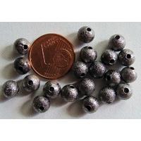 Perles Métal NOIR RONDES aspect GIVRE 6mm par 20 pcs