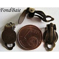 Boucle d'oreilles CLIP PLATEAU 10mm BRONZE par 6 pcs