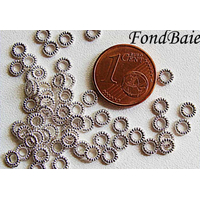 Perles Métal ARGENTE CLAIR petites Rondelles 4mm par 50 pcs
