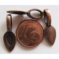 Perles Métal couleur CUIVRE BELIERE FEUILLE à coller 21mm par 10 pcs