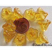 Perles Cones fleurs MIEL CLAIR 12mm par 10 pcs