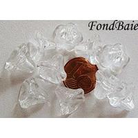 Perles Cones fleurs TRANSPARENT 12mm par 10 pcs