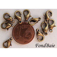 Fermoirs mousqueton 10mm petits BRONZE par 10 pcs