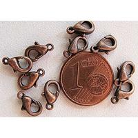 Fermoirs mousqueton 10mm petits CUIVRE par 10 pcs