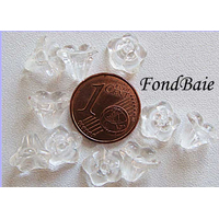 Perles Cones fleurs TRANSPARENT 8mm par 20 pcs