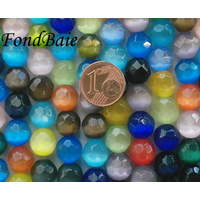Perles verre Oeil de Chat rondes FACETTE 10mm par 35 pcs