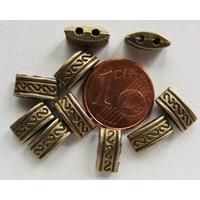 Perles Métal couleur BRONZE Séparateur 2 rangs motifs S 10mm par 10 pcs