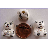 Perles Porcelaine CHIEN NOIR DORE 15mm par 2 pcs