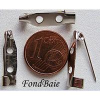 Supports BROCHES épingle metal Argenté 20 mm par 10 pcs