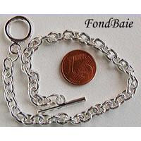 Bracelet Métal argenté Clair CHAINE Ovale 21cm MOD1 par 1 pc