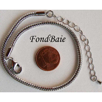 Bracelet Métal argenté Vieilli CHAINE SERPENT 21+6cm MOD2 par 1 pc