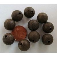 Perles Métal BRONZE RONDES aspect GIVRE 12mm par 10 pcs