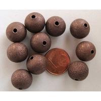 Perles Métal CUIVRE RONDES aspect GIVRE 12mm par 10 pcs