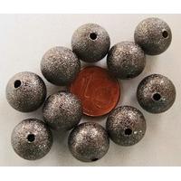 Perles Métal NOIR RONDES aspect GIVRE 12mm par 10 pcs