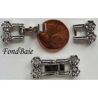 Fermoirs pour bracelet ARGENT VIEILLI 2 fleurs + strass MOD1 par 2 pcs