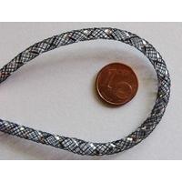 Fil Résille tubulaire NOIR + ruban argenté 4mm par 5 mètres