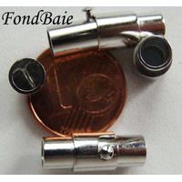 Fermoirs TUBE magnétique argenté 16mm pour cordon jusqu'à 4mm par 1 pc