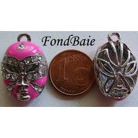 Masque Strass support argenté ROSE FONCE 20mm par 1 pc