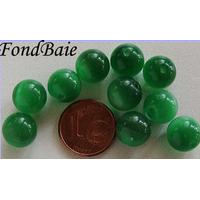 Perles verre Oeil de Chat rondes 10mm VERT EMERAUDE par 10 pcs