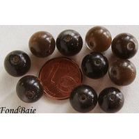 Perles verre Oeil de Chat rondes 10mm MARRON FONCE par 10 pcs