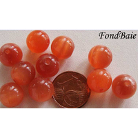 Perles verre Oeil de Chat rondes 10mm ORANGE Abricot par 10 pcs