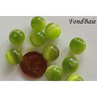 Perles verre Oeil de Chat rondes 10mm VERT OLIVE par 10 pcs
