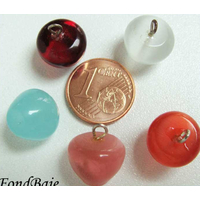 Pendentifs verre Oeil de Chat POMME mix couleurs 12mm par 5 pcs