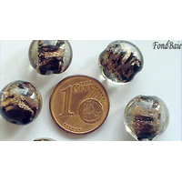 Perles verre GALET 12mm Touches dorées NOIR par 6 pcs