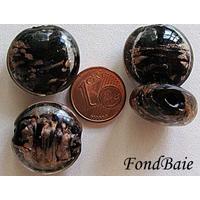 Perles verre GALET 20mm Touches dorées NOIR par 4 pcs