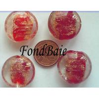 Perles verre GALET 20mm Touches dorées ROUGE par 4 pcs
