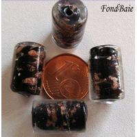 Perles verre Tubes 15mm Touches dorées NOIR par 4 pcs