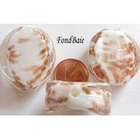 Perles verre Galets 30x25x10mm Touches dorées BLANC par 2 pcs