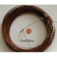 Collier monté FIL CABLE  45 cm MARRON  fermoir AIMANT par 1 pc